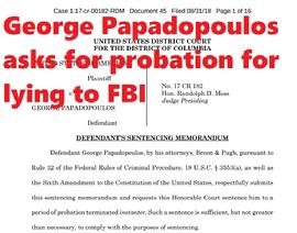 George Papadopoulos asks for probation for lying to FBI
