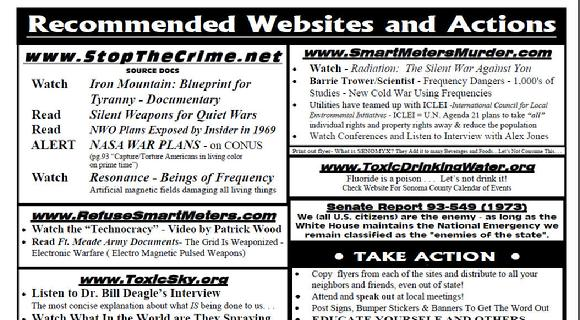 recommended websites and actions